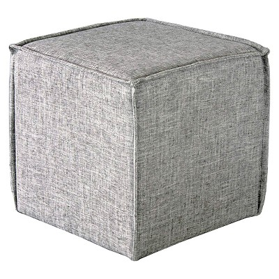 French Seam Square Pouf Pumice Gray - Skyline Imports
