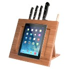 CTA iPad Bamboo Adjustable Kitchen Stand with Knife Storage - Brown (PAD-BKS)