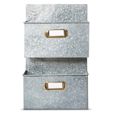 Galvanized 2 Pocket Wall Organizer with Labels - Smith & Hawken™