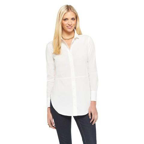 Women's Button Down Shirt w/ Split Hem Fresh White