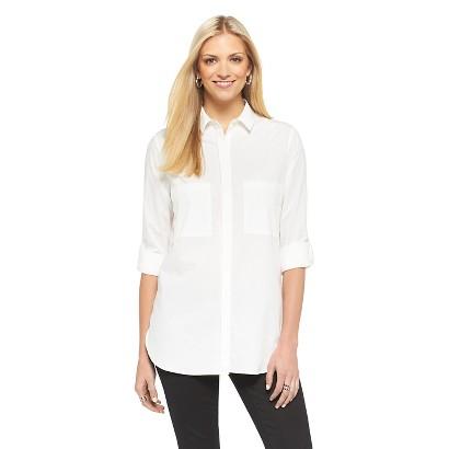 Women's Button Down Shirt w/ Pockets Fresh White