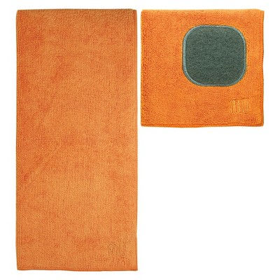 Ultra Absorbent Solid Microfiber Kitchen Towel with Scrubber Cloth - Orange