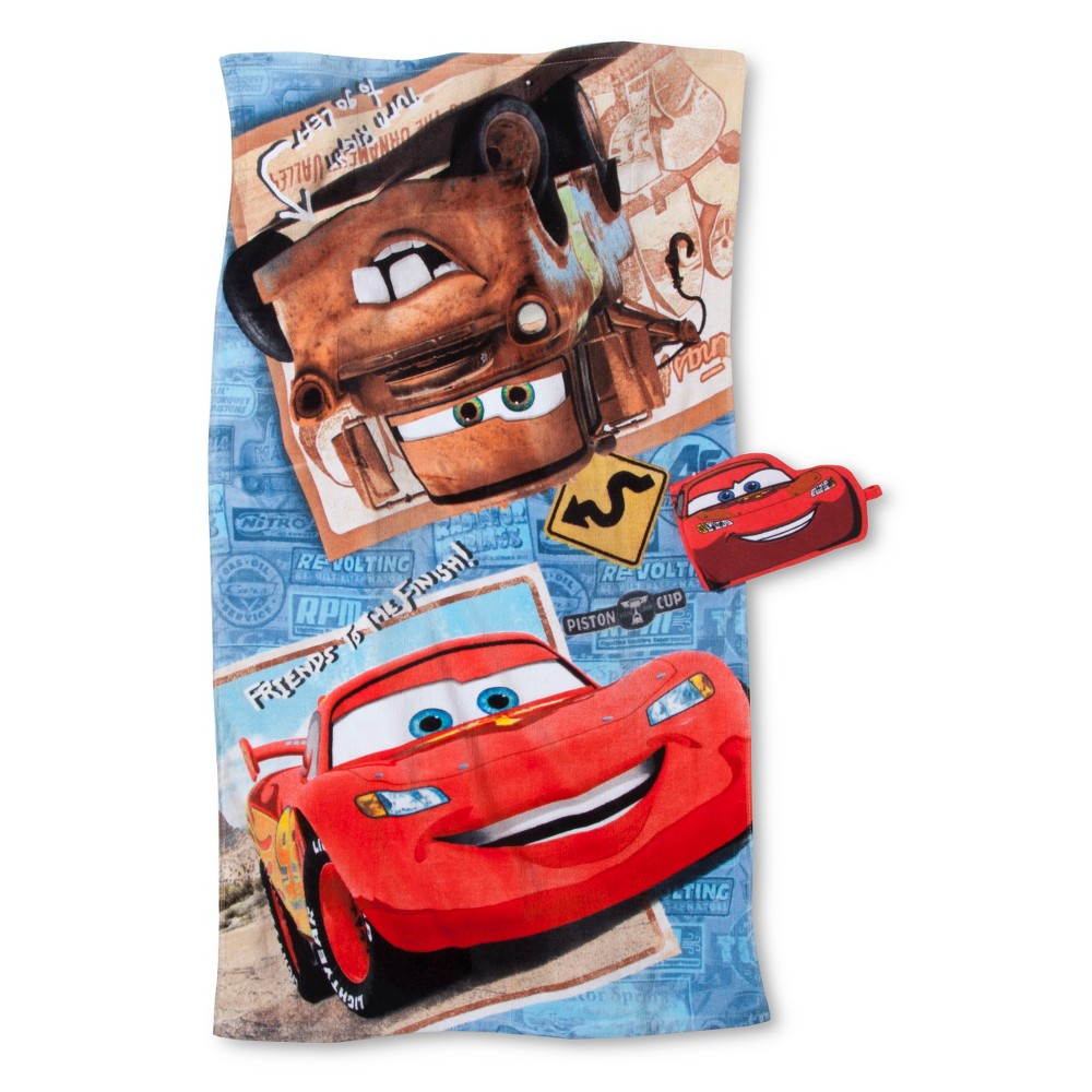 Disney Cars Tune Up Bath Towel/Wash Mitt Set, Red
