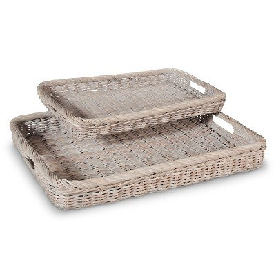 2 Pc Rattan Serving Tray - Gray - Smith & Hawken™