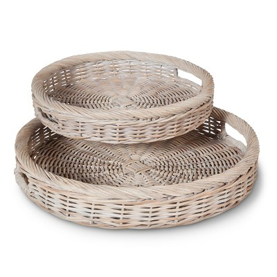 2 Pc Rattan Serving Set - Gray - Smith & Hawken™