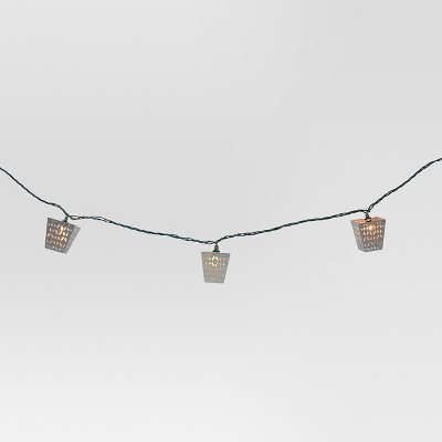 UL 10ct Indoor/Outdoor String Light- Metal Perforated Lantern - Threshold™