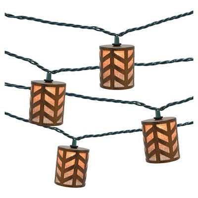 10ct Indoor/Outdoor String Light- Metal Round Cover With Burlap - Threshold™