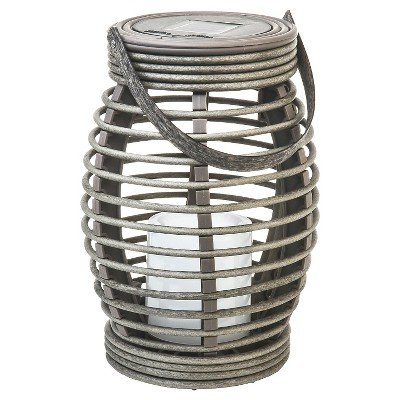 Rattan Solar Lantern Pagoda Light Brown Small - Threshold™