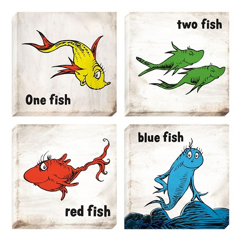 Wall clocks target for One fish two fish red fish blue fish costume