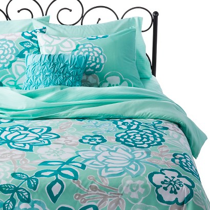 Xhilaration Jersey Floral Bed-In-A-Bag - Teal (Queen)
