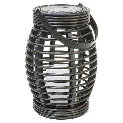 Rattan Solar Lantern Pagoda Dark Brown Medium - Threshold™
