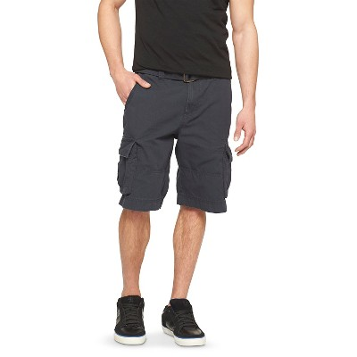 Men's 28 Solid Belted Cargo Shorts Black - Mossimo Supply Co.