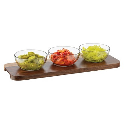 Libbey 4 Piece Round Acaciawood Condiment Set