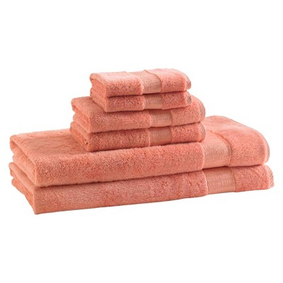 Kassatex Rayon Made From Bamboo 6pc Towel Set - Coral