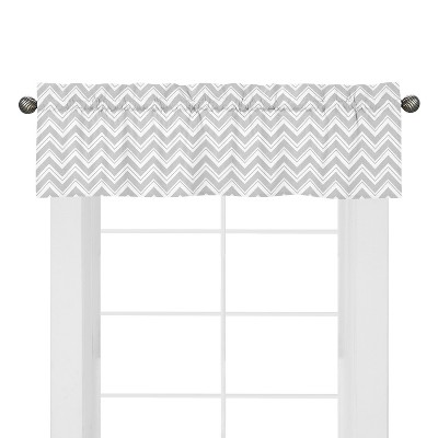 Sweet Jojo Designs Chevron Zig Zag Window Valance- White-Gray