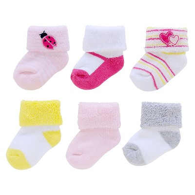 Just One You™Made by Carter's® Newborn Girls' 6 Pack Lady Bug Terry Sock 0-3 M
