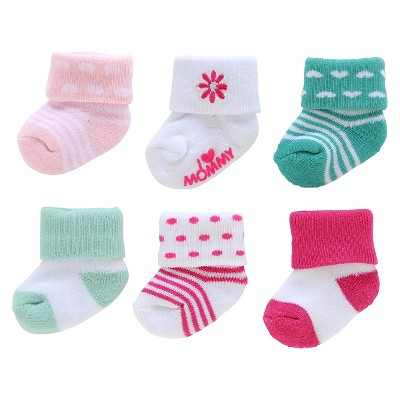 Just One You™Made by Carter's® Newborn Girls' 6 Pack Flower Terry Sock 0-3 M