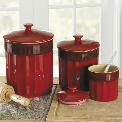 Ecom Food Storage Canister Set Chefs Red