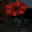 9' Solar Lighted Aluminum Push Button Tilt Patio Umbrella