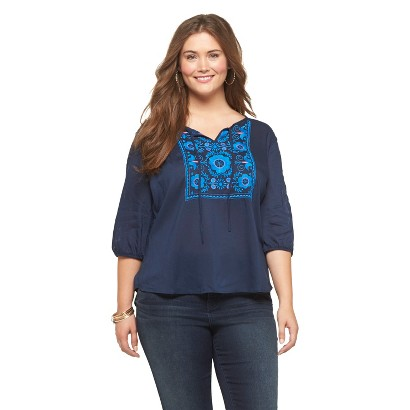 Plus Size 3/4 Sleeve Embroided Top Navy 1X-Mossimo Supply Co.
