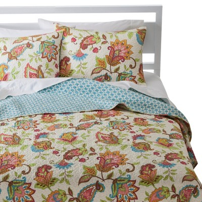 Avery Stitch Floral Quilt Set - Multicolored (King)