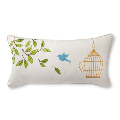 Avery Bird Cage Decorative Pillow - White