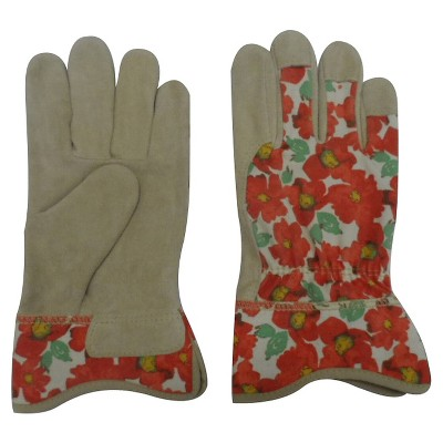 Threshold Split Leather Gloves Red Floral