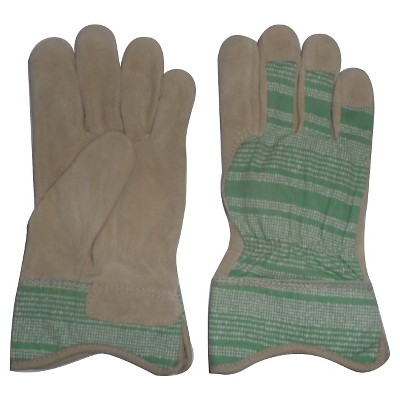 Theshold Split Leather Gloves Green Pattern