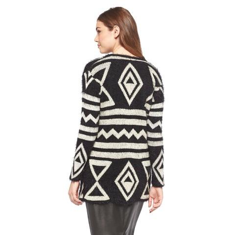 Fuzzy Open Front Aztec Cardigan Black/White  - Cliche