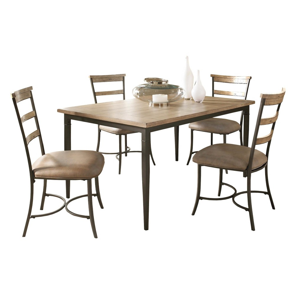 DINING TABLE SET HILLSDALE 5 PIECE CHARLESTON LADDERBACK CHAIR AND
