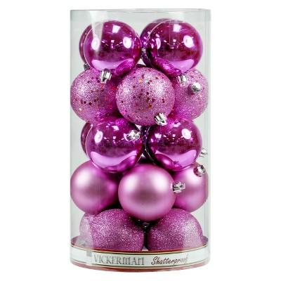 20ct Orchid Shaes Sphere Christmas Ornament Set