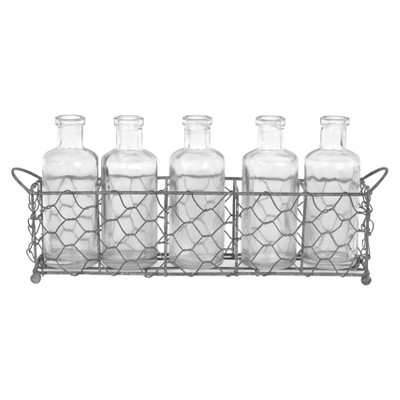 Glass Bottles with Wire Tray