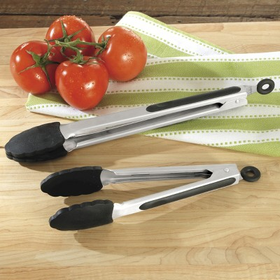 CHEFS Silicone Locking Tongs - Set of 2 - Black