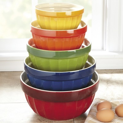 CHEFS 5-Piece Stoneware Mixing Bowl Set - Multicolor