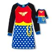 Justice League Girls' Wonder Woman Nightgown with Matching Doll Gown