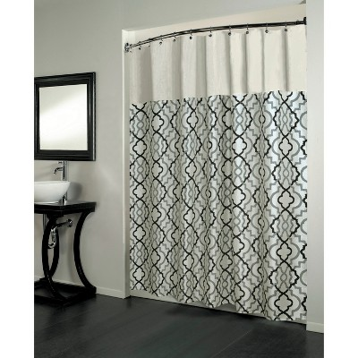 Beatrice Home Marikesh Pieced Woven Jacquard Shower Curtain - Black/White
