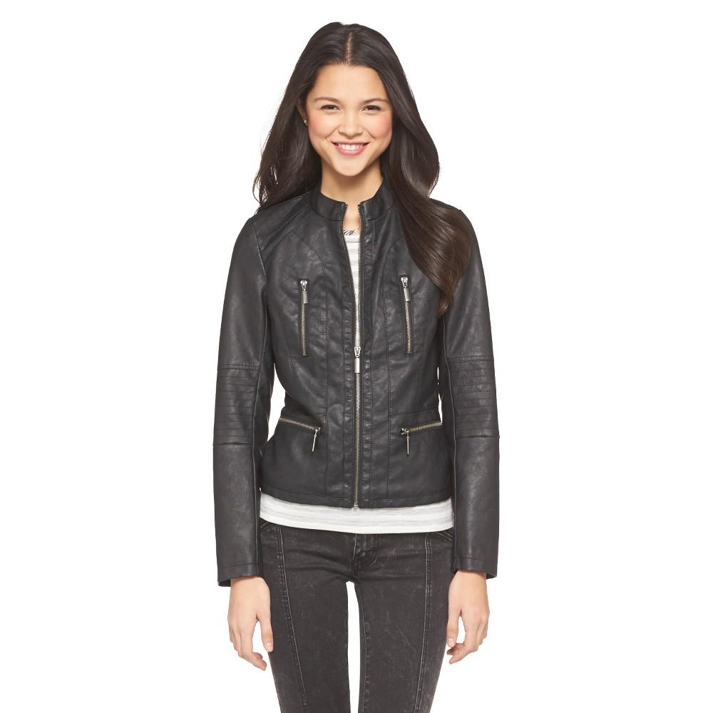 9f163a078c431 UPC 492830015772 product image for Junior's Faux Leather Moto Jacket Black  M - Xhilaration | upcitemdb