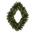 "42""x 30"" Camdon Diamond Wreath - Warm White lights"