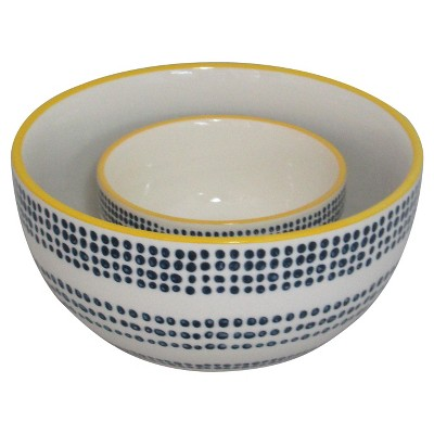 Threshold™ Stoneware Serving Bowls Set of 2 with Navy Dots