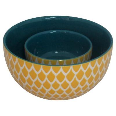 Ecom 2 Pc Serving Bowl Set Threshold Yellow Stoneware