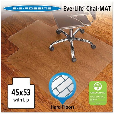 ES Robbins® Economy Series Lip Chair Mat for Hard Floors - 3'9''x4'5''