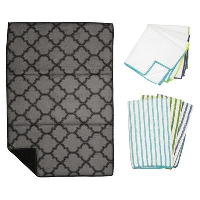 Trellis Kitchen Essentials Textile Set - Black