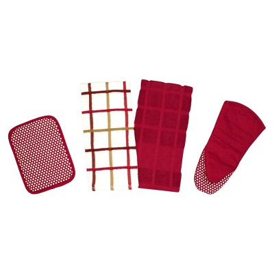 Premium Egyptian Cotton Kitchen Towel Set - Red