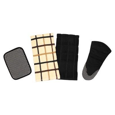 Premium Egyptian Cotton Kitchen Towel Set - Black