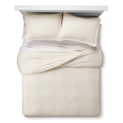 Lace Linen Duvet Set King Off White - The Industrial Shop™