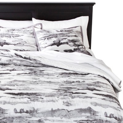 Abstract Watercolor Striae Comforter Set - Black/Ivory (Full/Queen)
