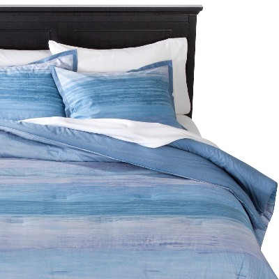 Watercolor Striae Comforter Set - Blue/Grey (King)