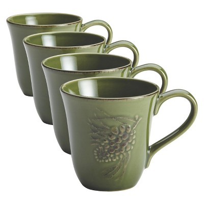 Bonjour Sierra Pine Mugs Set of 4 - Green