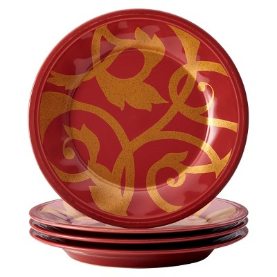 "Rachael Ray Gold Scroll Salad Plate Set of 4 - Red (8"")"