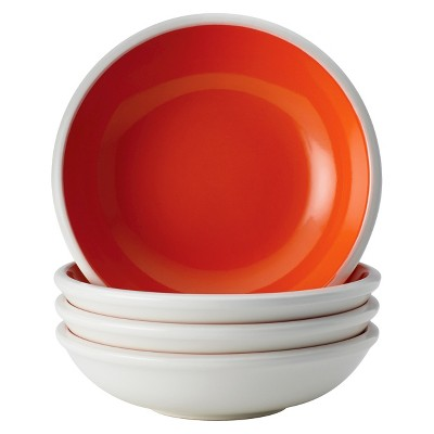 Rachael Ray Dinnerware Rise 4-Piece Stoneware Fruit Bowl Set, Orange